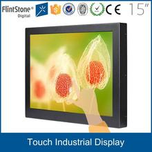 "Flintstone 15"" industrial multimedia monitor with USB touch screen, industrial touch panel lcd monitor with VGA DVI"