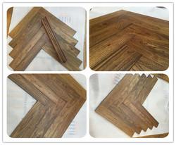 "3/4"" antique solid wood herringbone flooring - asian teak"