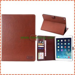 Retro PU Leather Case for ipad air 2, crazy horse leather case with card holder for ipad 6