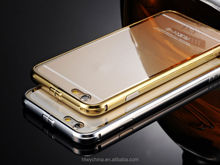 Hot Selling Luxury China Aluminum Bumper +Mirror Back Makeup Case For iPhone 6