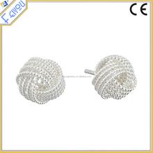Silver Geometry Cross Flower Stud Earrings