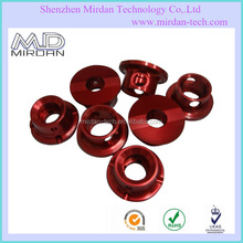 nature red anodized aluminum turning parts, cnc turning lathe machining spare parts