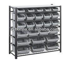 9 layer metal shelf with bin parts storage rack for garage , personal workshop