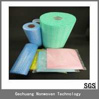 Hangzhou high quality disposable spunlace nonwoven heavy rags with wave pattern 25pcs/roll ningbo