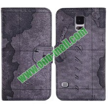 World Map Pattern Wallet Leather Case for Sasmung Galaxy S5 with Holder