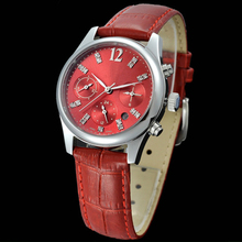 Red color big number ladies jeweled classical wrist watch with cooper dial
