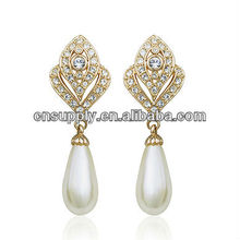 Italina hot sale fashion classical design earring with imitation pearl and 18k gold plated