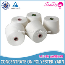 16/3 raw white hot sell high tenacity low knotless for knitting and weaving 100pct polyester sewing thread