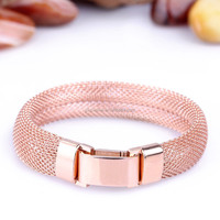 2015 best products for import rose gold color surgical 316L stainless steel mesh bracelets for ladies