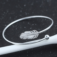 Adjustable size wings of an angel feather silver bangles 925 sterling silver bijoux for vogue alibaba