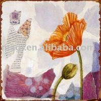 "Square 8""x8"" Antique Flower Design Iron Wall Art"