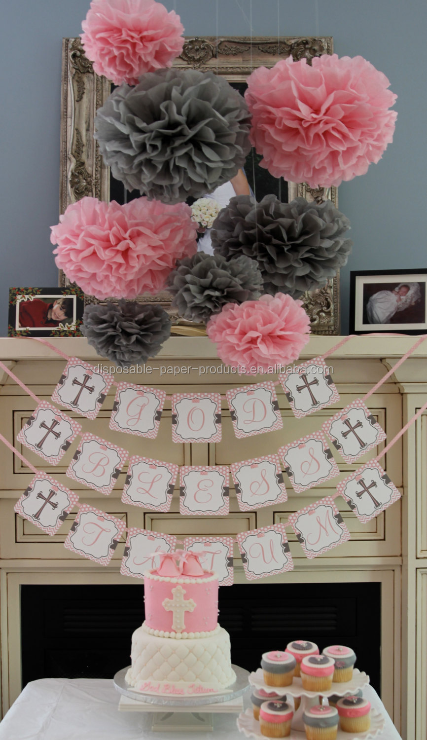 Pink Theme Party Ideas Tissue Paper Pom Poms Honeycomb