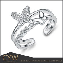 CYW 925 sterling silver cz butterfly wedding band, cubic zirconia rings animal jewelry