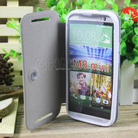 Luxury durable leather phone cover for htc m8 mini pu leather flip case