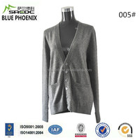 BLUE PHOENIX super soft grey 100% cashmere women cardigan with button