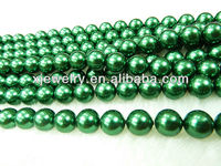 Professional custom and wholesale 6mm dark olive green south sea shell pearl beads loose strands