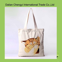 Hot sale cute cat hand painting girls leisure cotton canvas shoulder bag