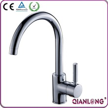 QL-1309 ce fashion deck mounted single handle brass polished chrome swan sink kitchen faucet