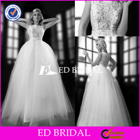 XL846 sleevelss hot style lace covered back ball gown 2014 middle east wedding dresses
