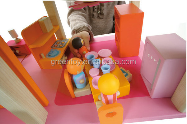 고품질 DIY 목재 놀이 인형 집, 단단한 나무 인형 집, 나무 인형 집 ...