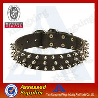 Hot selling cheap spiked dog leather collar with metal buckles