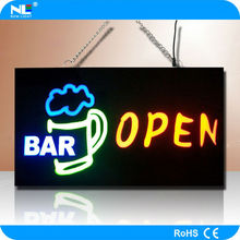 Remote control colorful LED backlight light up bar open neon sign