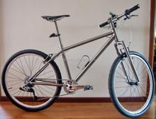 titanium standard MTB bike frame for 26er or 29er handing brush finished