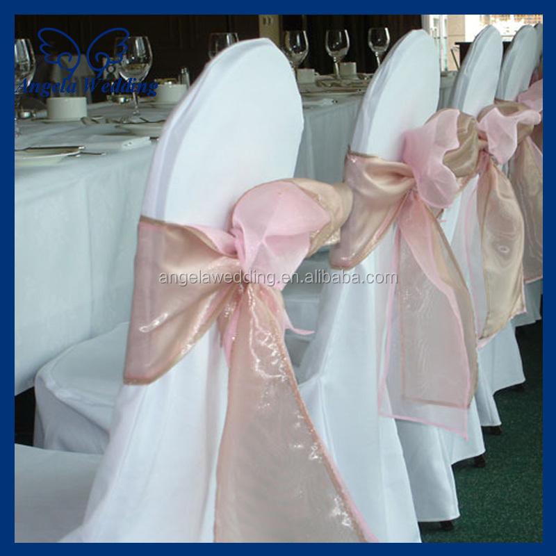 Sh017d Wholesale Fancy Wedding Organza Bow Fuchsia Chair Sashes