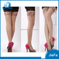 women's fashionable high quality anti hook wire sheer lace printing pantyhose stockings tights