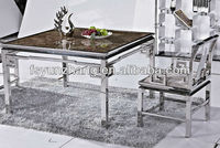 square paper marble stainless steel frame dining table
