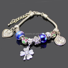 Beautiful Blue Murano Glass Beads Charm Bracelet China Online Shopping Hot Product Clover Heart Coin Charm Bead Bracelets