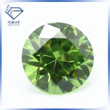 Top AAA quality brilliant China suppliers machine cut zircon round green cubic zirconia