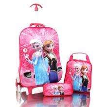 3D Frozen School children trolley bags