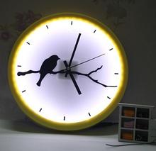 yellow and white quartz analog led wall clock