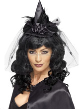 Halloween Fancy Dress Mini Witch Hat Headband Witches Fascinator Hat on Headband