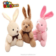 Factoy direct wholesalers plush toy long ear rabbit with bowknot plush keychain