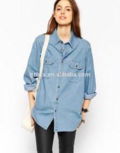 Señora a la moda <span class=keywords><strong>blusa</strong></span> camisa vaquera mujeres