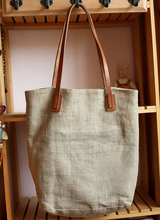 Yiwu 10-year bag making factory custom linen tote bag with leather handle