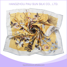 Lady beautiful flower printed 100 pure silk 90x90 twill silk square scarves 2014