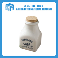 Ceramic square bottle with a cork
