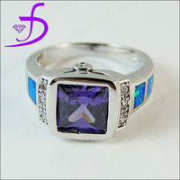 925 Sterling Silver Diamond Mystic Amethyst Antique Ring Silver Opal Ring