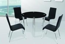 2015 popular tianjin modern round black temper glass dining table set