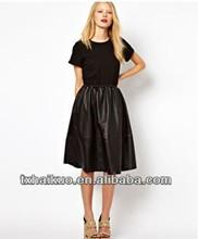 2014 ladies' de moda las niñas vestido negro largo faldas de cuero