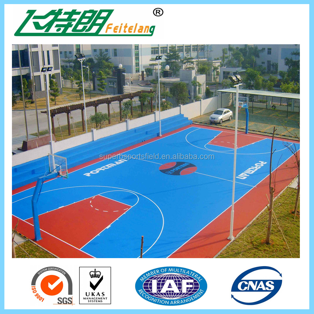 Silicon pu sandwich system sport court flooring basketball for Sport court pricing