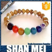 wholesale fashion natural colorful stone Chakras bracelet,men bracelet stone