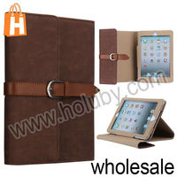Top Quality Factory Price Folio Stand Leather Case for iPad Mini/Retina iPad Mini with Belt Buckle (3 Colors Optional)