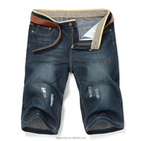 (stock)Popular Vintage Style scratch classic short ripped jeans for men