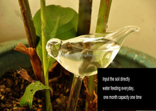 auto water feeding bird shape clear glass for plants flowers