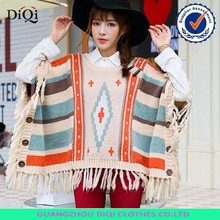 Women Striped Knitted poncho, mexican ponchos