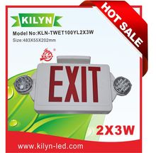 LED Exit Sign Standard type Emergency Lighting Combo Unit / Rotate LED Lamp Head / Red Letter / White housing
